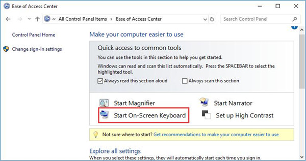 ease of access center start on screen keyboard