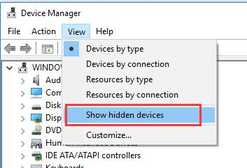 show all hidden devices