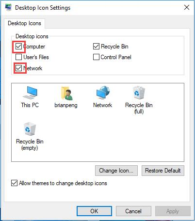 add or remove desktop icons