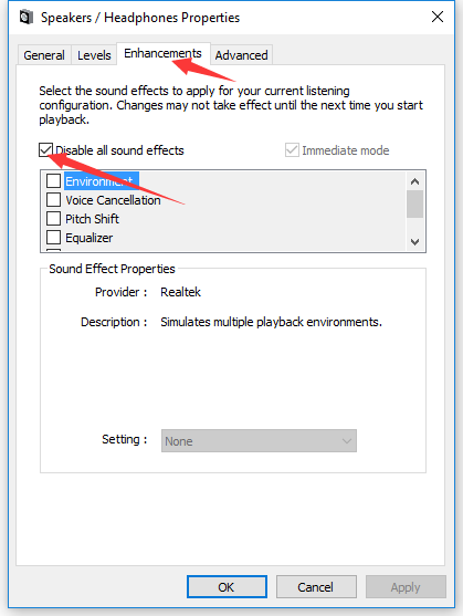 disable all sound effects
