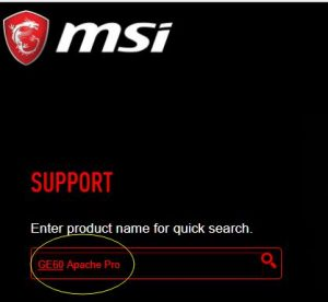 interface of msi driver update