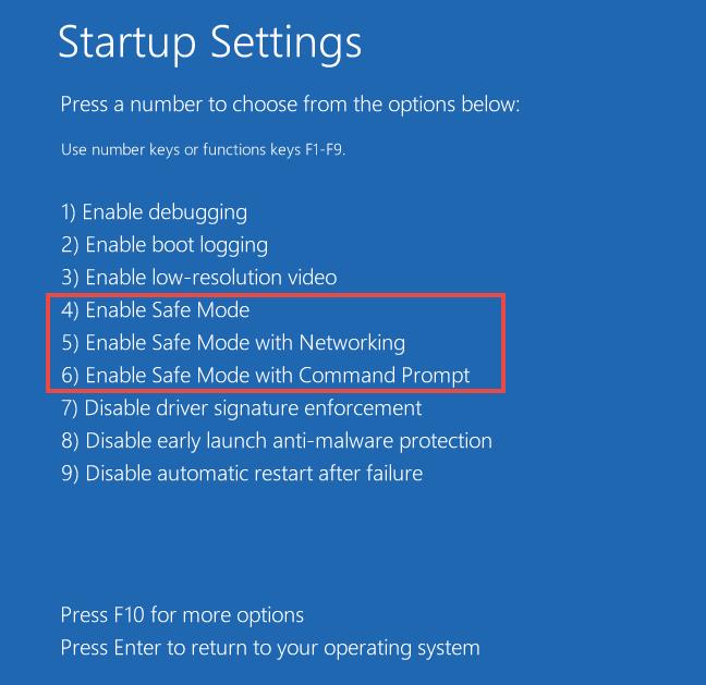 safe mode startup type