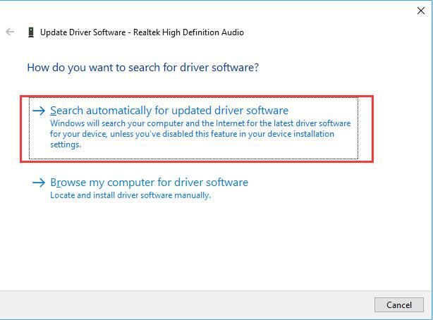 search automatically for realtek hd audio driver