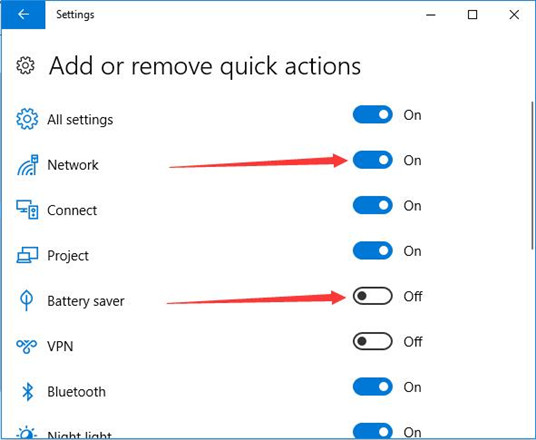turn on of off quick actions