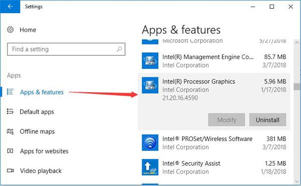 uninstall intel processor graphic apps