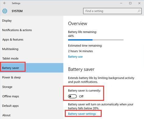 battery saver settings