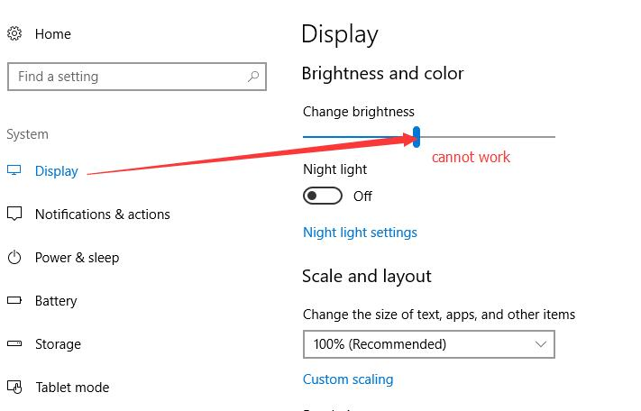 brightness control cannot working