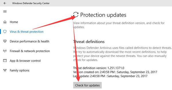 check windows defender updates
