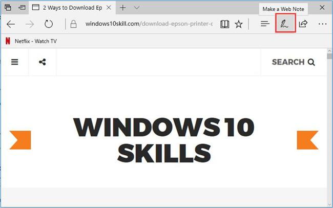click make a web note icon