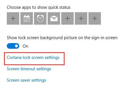 cortana lock screen settings