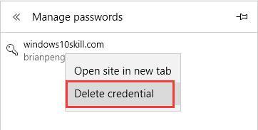 delete credential