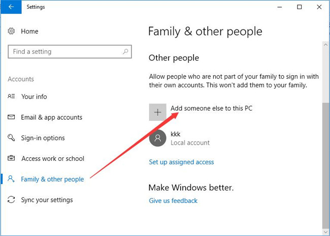 family and other add someone else to the pc