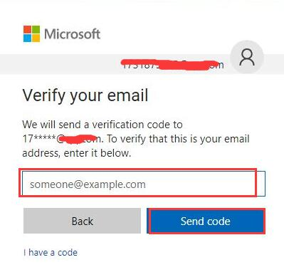 input email and send code
