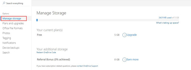 manage online onedrive storage