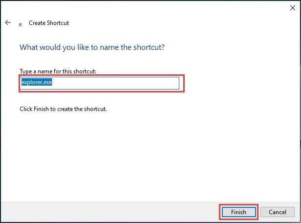 name shortcut as explorer