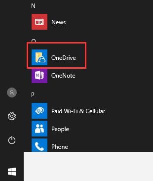 open onedrive on start menu