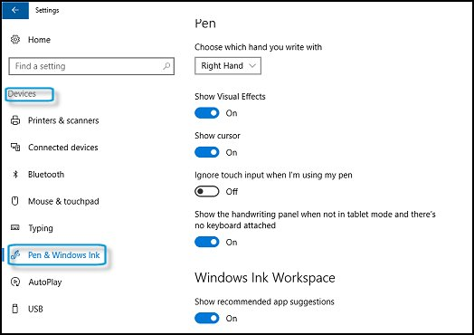 pen and windows ink settings