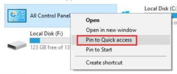 pin control panel to quick access