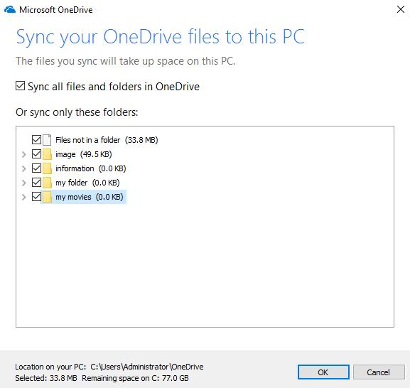 sync onedrive files to this pc choose folders