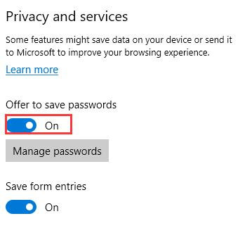 turn on offer to save password