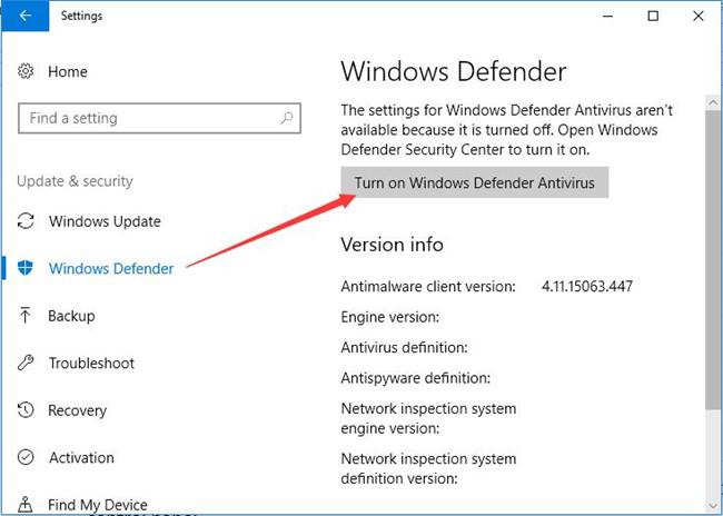 turn on windows defender antivirus
