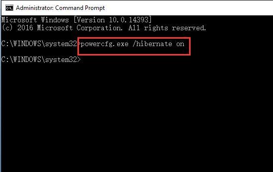 type keyword in command powercfg.exe hibernate on