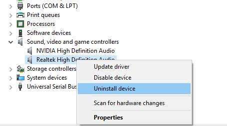 uninstall realtek audio driver