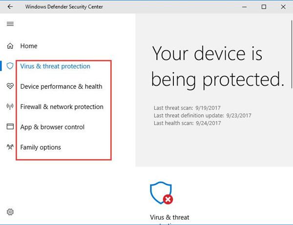 windows defender security center options