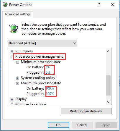 change processor power management