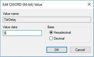 change tdrdelay value data to 8