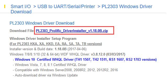 download pl2303 prolific driver
