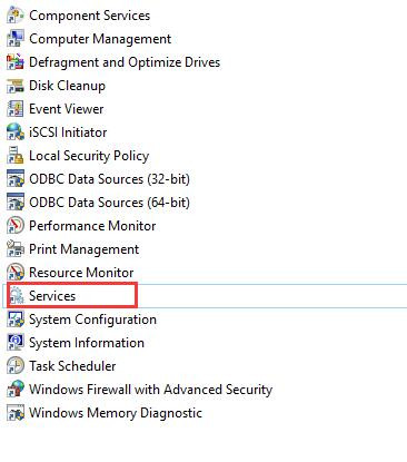 open services in administrative tools