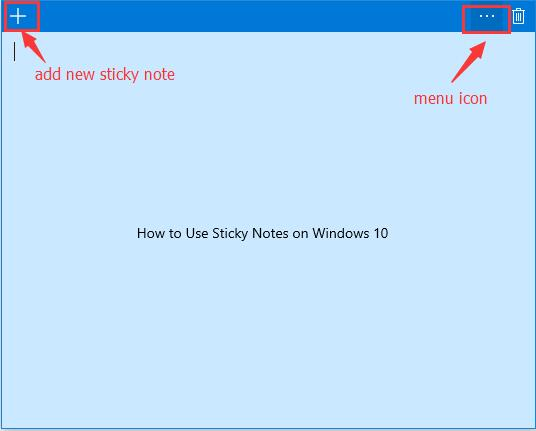 operate for the sticky notes