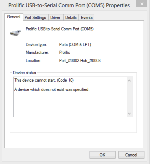 prolific usb to serial common port code 10 error