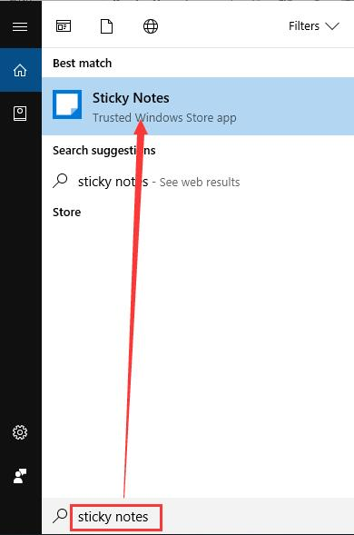 search sticky notes on search box