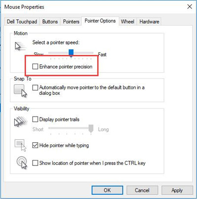 uncheck enhance pointer options