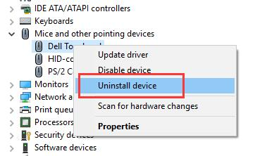 uninstall dell touchpad driver