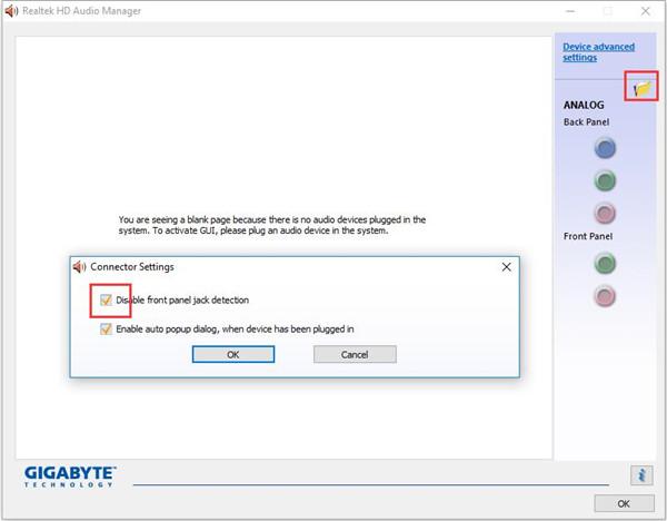 realtek hd audio manager settings