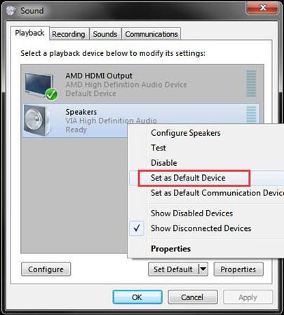 speaker as default device