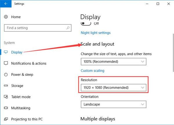 change screen resolution under display