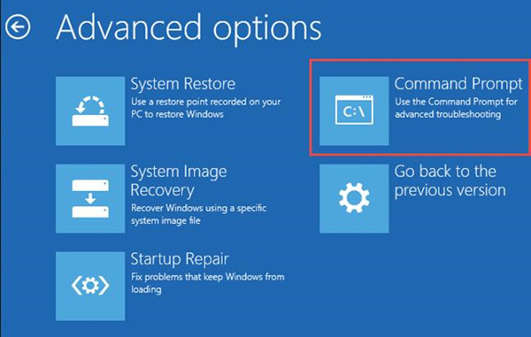 command prompt in advanced options