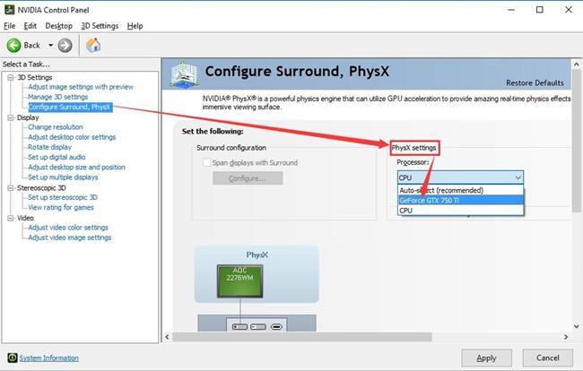 configure surround physx settings