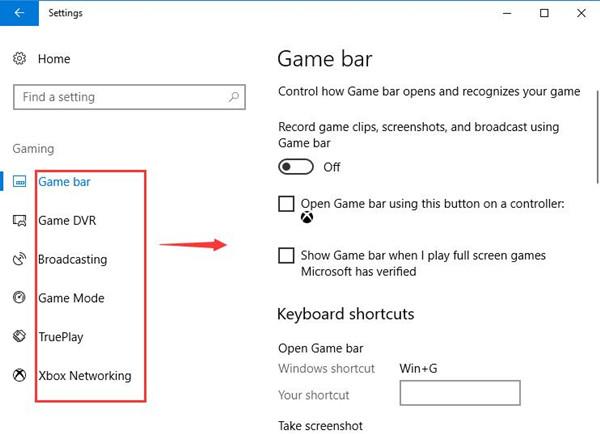 disable game bar and xbox options