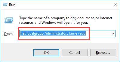 enter net localgroup Administrators Jame /add