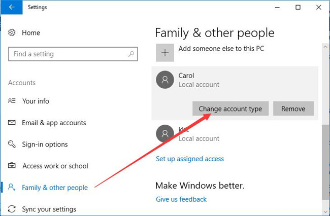 family other people change user type