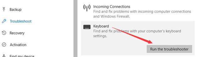 keyboard troubleshooter
