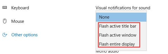 other options visual notifications sound