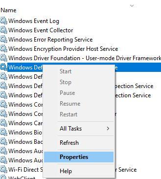 windows defender properties
