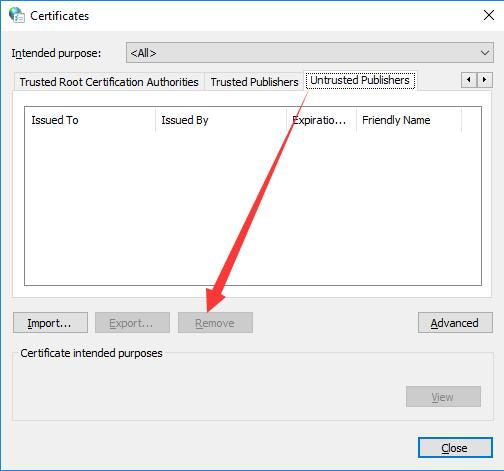 remove untrusted publishers