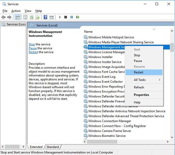 restart windows management instrumentation